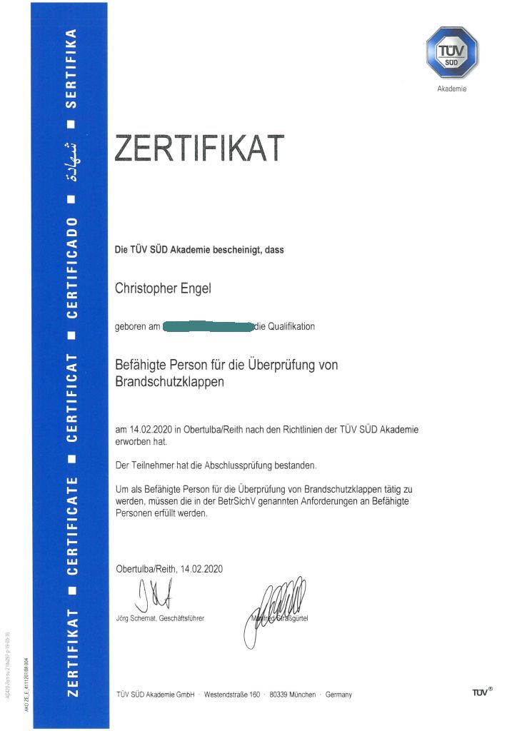 TÜV-Zertifikat Christopher Engel